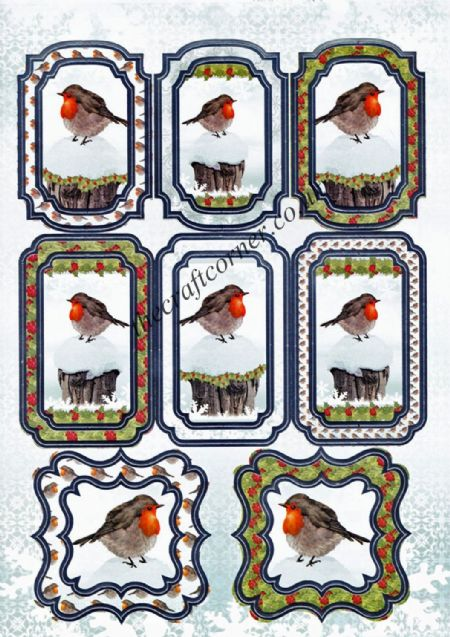 Die Cut Foil Christmas Robin Toppers and Backing Card from Craft UK Ltd